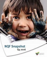 Cover of NQF Snapshot for Q4 2016 featuring a young smiling boy with outstretched hands covered in streaks of black marker