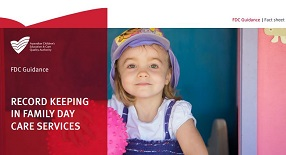 Family Day Care information sheet header including young girl wearing a sunhat