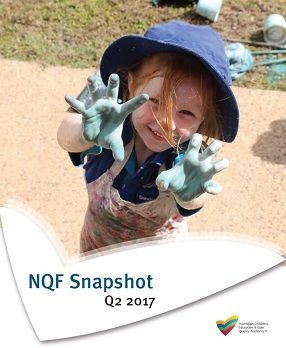 Cover of Snapshot Q2 2017 of little girl in blue hat with painted hands waving