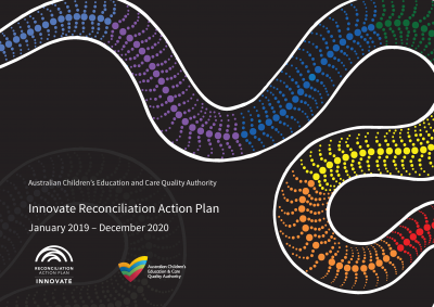Reconciliation Action Plan book cover with aboriginal painted snake