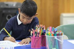 Young boy drawing using a variety of coloured pencils