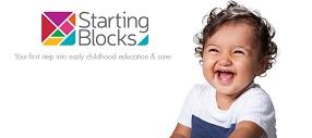 Starting Blocks photo tile featuring logo and giggling toddler.