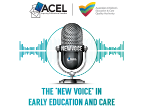 ACEL and ACECQA New Voice in Early Education and Care Award logo