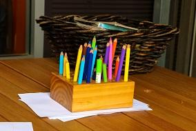 Colourful pencils on table