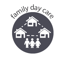 icon representing family day care - a set of houses and children
