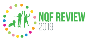 NQF Review 2019 logo small kids and coloured circles around