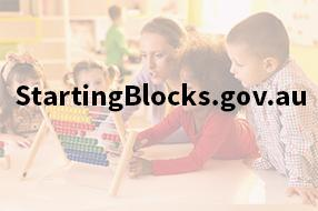 Children and educator looking at abacus with text StartingBlocks.gov.au on top