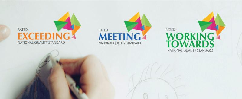 Displaying the 3 logos: Working towards, meeting and Exceeding the National Quality Framework