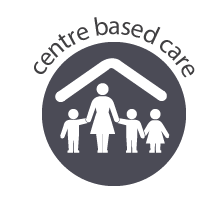 icon representing centre based care - a family under a roof