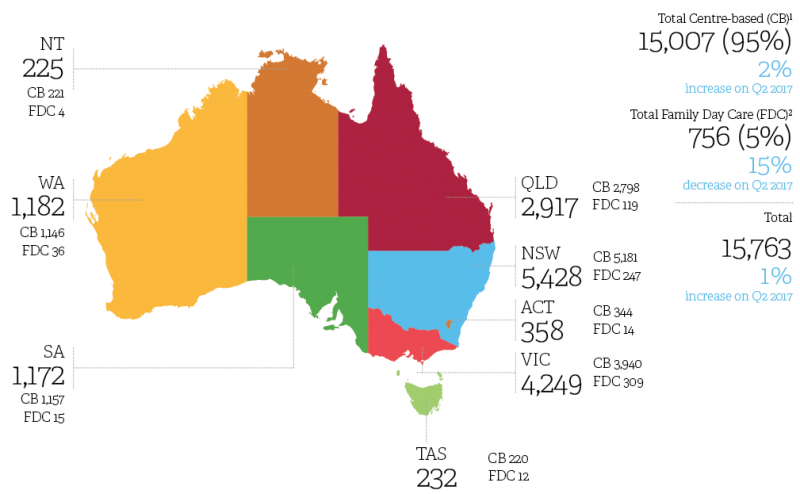 Annual report map of Australia image The number of approved services under the NQF