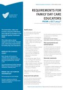 Requirements for Family Day Care educators from 1 Oct 2017