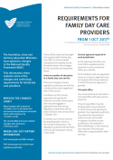 Requirements for Family Day Care providers from 1 Oct 2017