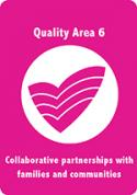 A pink card with acecqa logo in white in the middle, titled Quality Area 6, Collaborative partnerships with families and communities