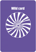 A purple coloured card with an spiral image in white in the middle, titled Wild Card